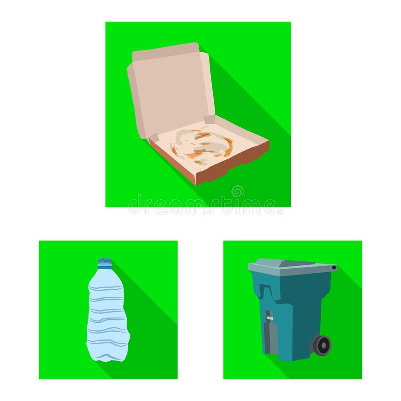 Illustration de vecteur de logo d'ordures et d'ordure. Ensemble d'illustration courante de vecteur d'ordures et de d?chets illustration stock
