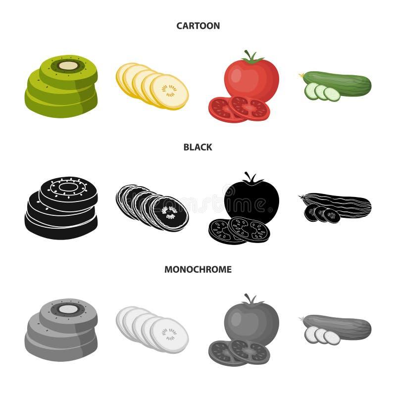 Illustration de vecteur de logo de l?gume et de fruit Placez de l'ic?ne de vecteur de l?gume et de nourriture pour le bouillon illustration libre de droits