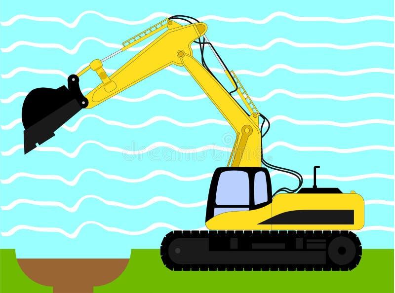 Illustration de vecteur de machine d'excavatrice industrielle illustration de vecteur