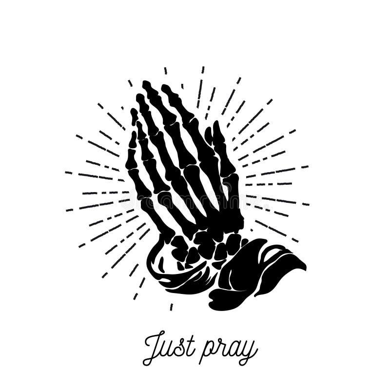 Illustration de vecteur - mains squelettiques de prière illustration stock