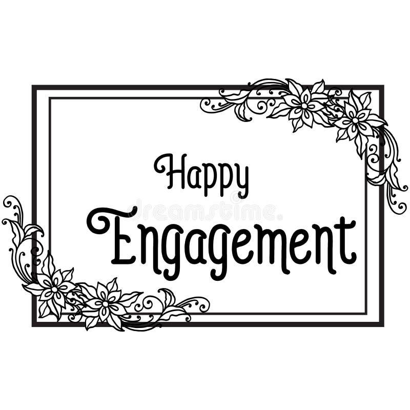 Illustration de vecteur marquant avec des lettres l'engagement heureux du divers cadre de fleur illustration stock