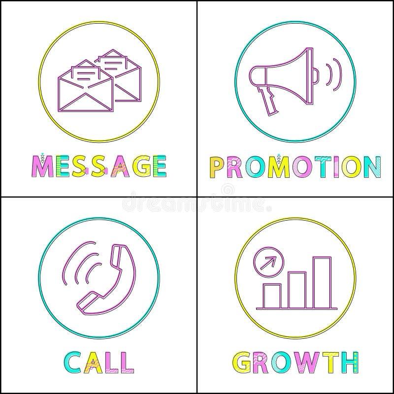 Illustration de vecteur de message et d'ensemble de promotion illustration de vecteur