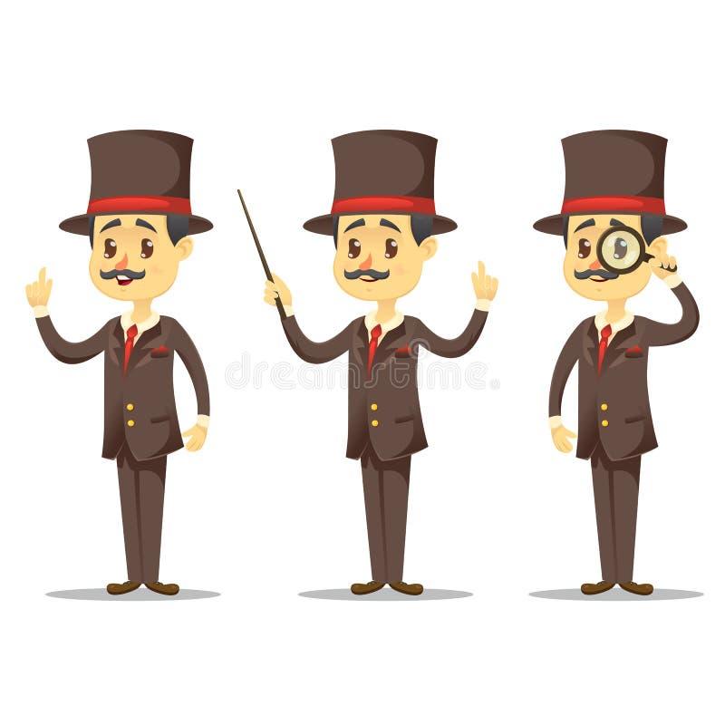 Illustration de vecteur - monsieur victorien de bande dessinée drôle dans homme d'affaires anglais bel de diverses poses illustration de vecteur