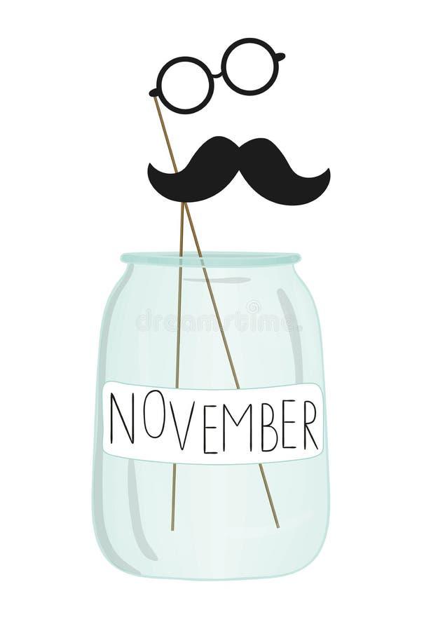 Illustration de vecteur de moustache et de verres sur le bâton dans un pot en verre illustration libre de droits