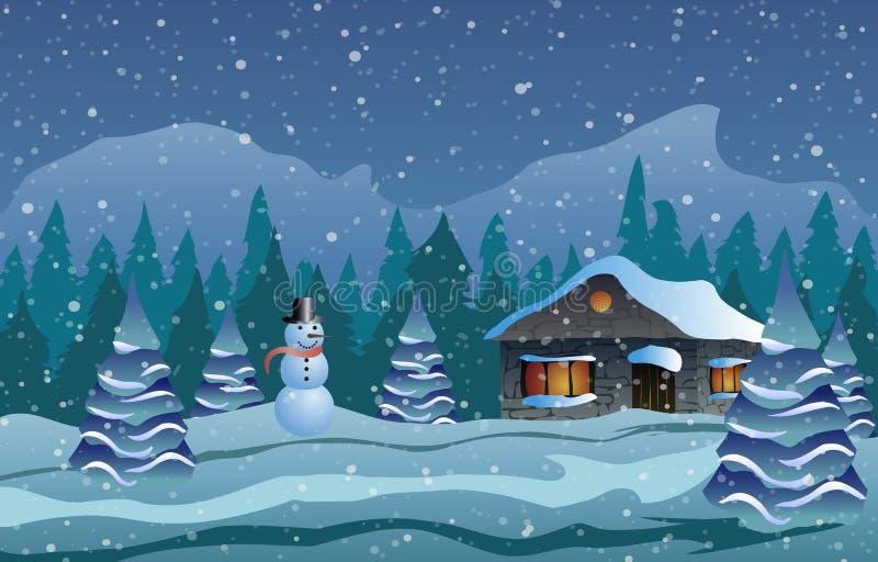 Illustration de vecteur Noël La maison en neige, arbres et bonhomme de neige illustration libre de droits