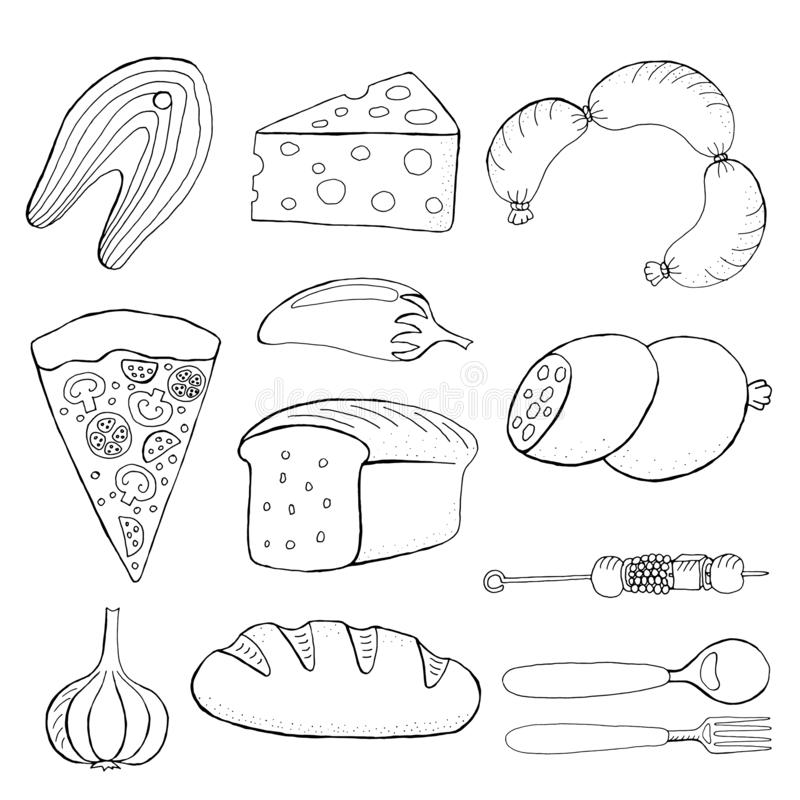 Illustration de vecteur de nourriture de Seth, pain, pizza, poisson, saucisses, fromage, ail, poivre, barbecue illustration stock