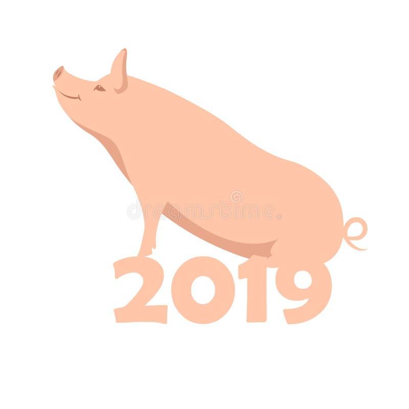 Illustration de vecteur de nouvelle année du porc 2019 plate illustration stock