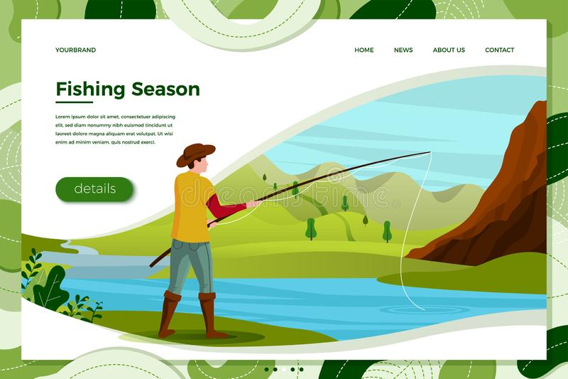Illustration de vecteur - pêcheur sur la rivière avec la tige illustration de vecteur