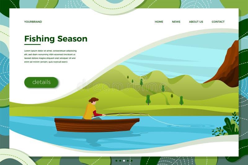 Illustration de vecteur - pêcheur sur le bateau avec la tige illustration libre de droits