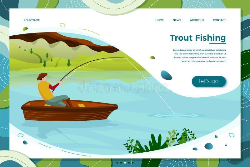 Illustration de vecteur - pêcheur sur le bateau avec la tige illustration de vecteur