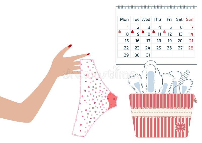 Illustration de vecteur de pantalon avec des baisses de sang menstruel chez la période de revues mensuelles des femmes, le tampon illustration de vecteur
