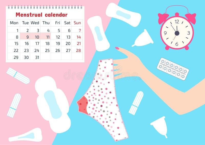 Illustration de vecteur de pantalon avec des taches de sang menstruel chez la période de revues mensuelles des femmes, le tampon, illustration libre de droits