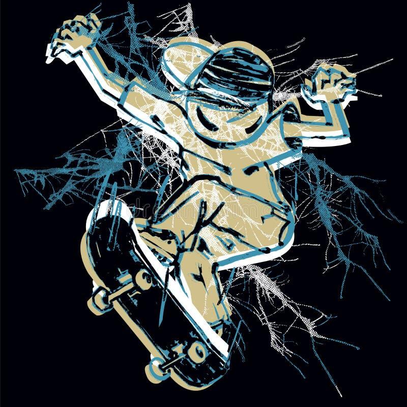 Illustration de vecteur de patineur Concours de style libre, T-shirt, copie illustration libre de droits
