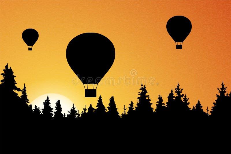 Illustration de vecteur de paysage avec la forêt, les ballons à air chauds volants et le ciel orange avec le Soleil Levant illustration libre de droits