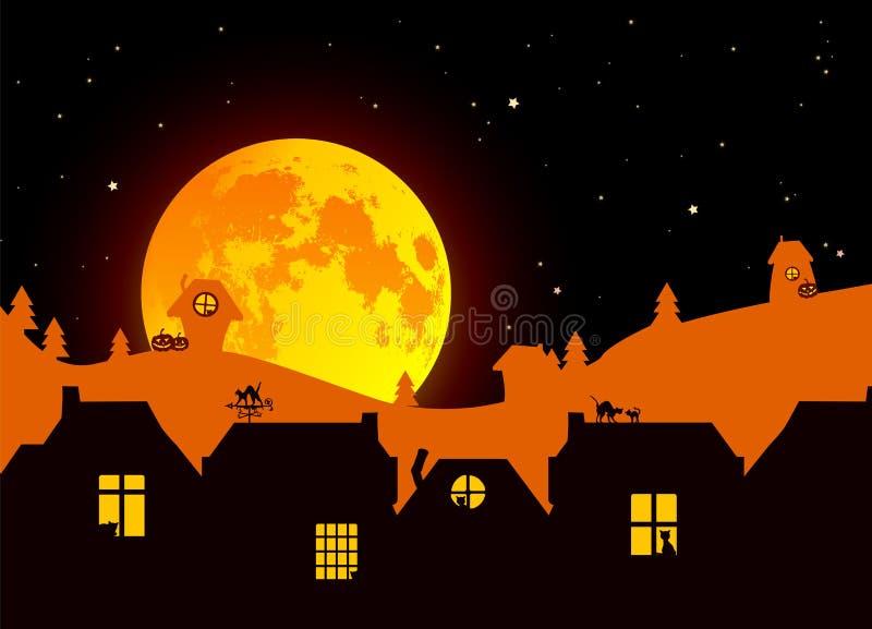 Illustration de vecteur : Paysage de Halloween de conte de fées avec la pleine lune réaliste, silhouettes de paysage de village s photos libres de droits