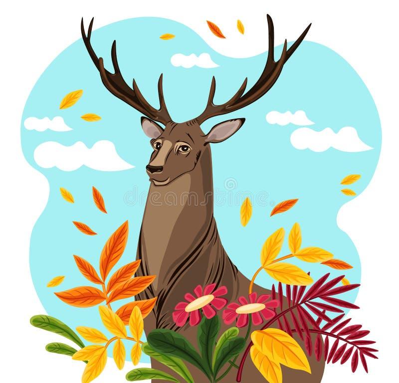 Illustration de vecteur de personnage de dessin animé de cerfs communs calibres de saison d'automne illustration de vecteur