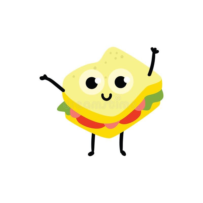 Illustration de vecteur de personnage de dessin animé de sandwich dans le style plat illustration stock