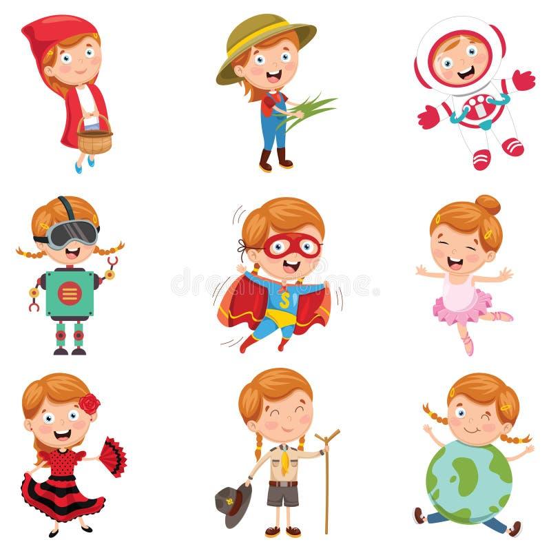 Illustration de vecteur de petite fille utilisant de divers costumes illustration de vecteur