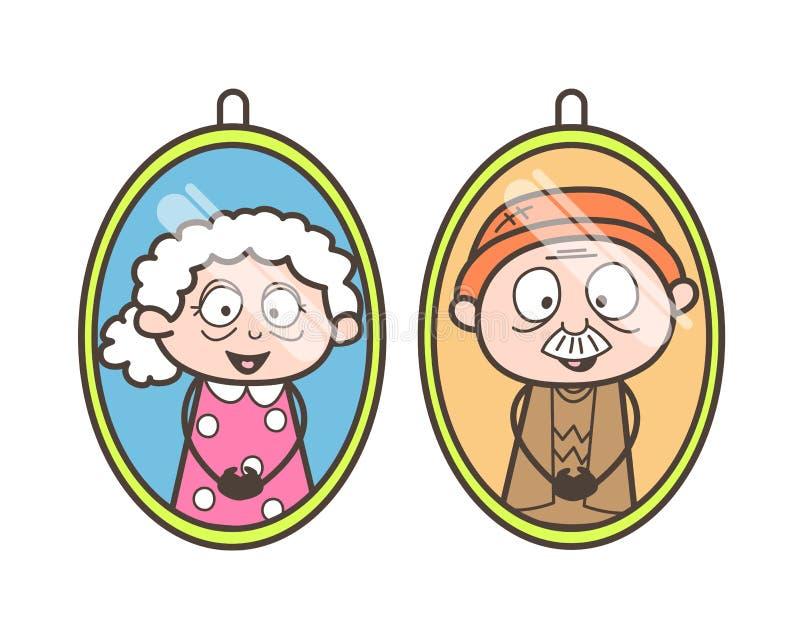 Illustration de vecteur de photos de grand-papa et de grand-maman de bande dessinée illustration libre de droits