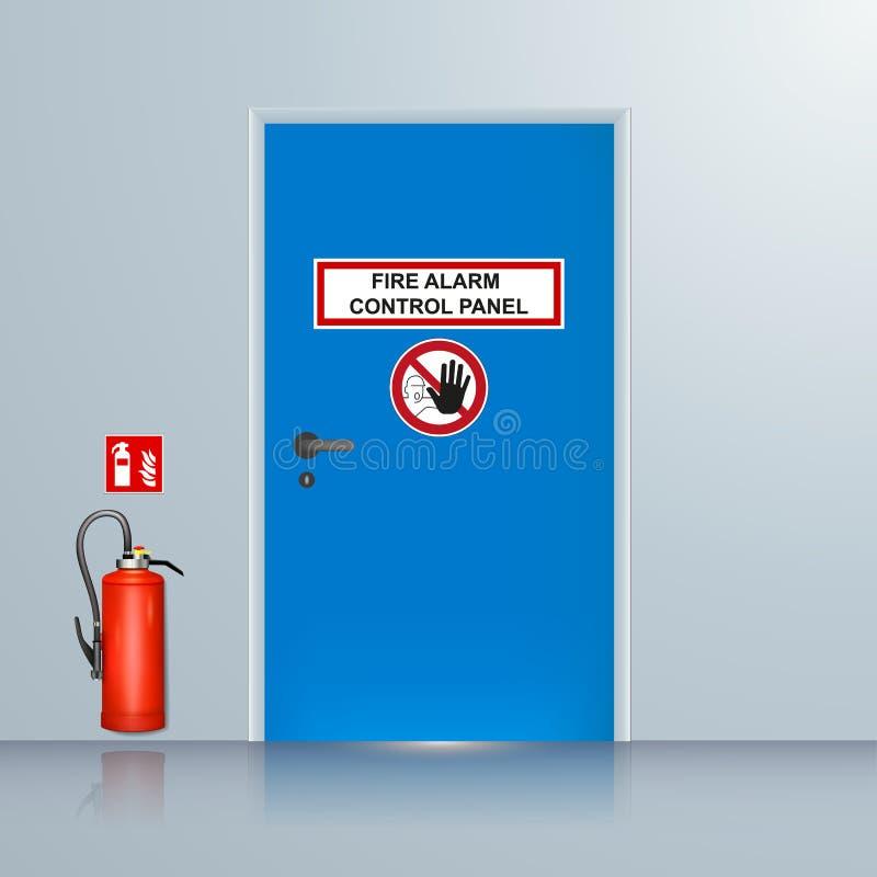 Illustration de vecteur de pièce de système d'alarme d'incendie illustration libre de droits