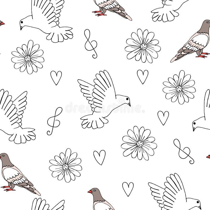 Illustration de vecteur de pigeon et de colombe avec des coeurs, des fleurs et la clef triple illustration stock