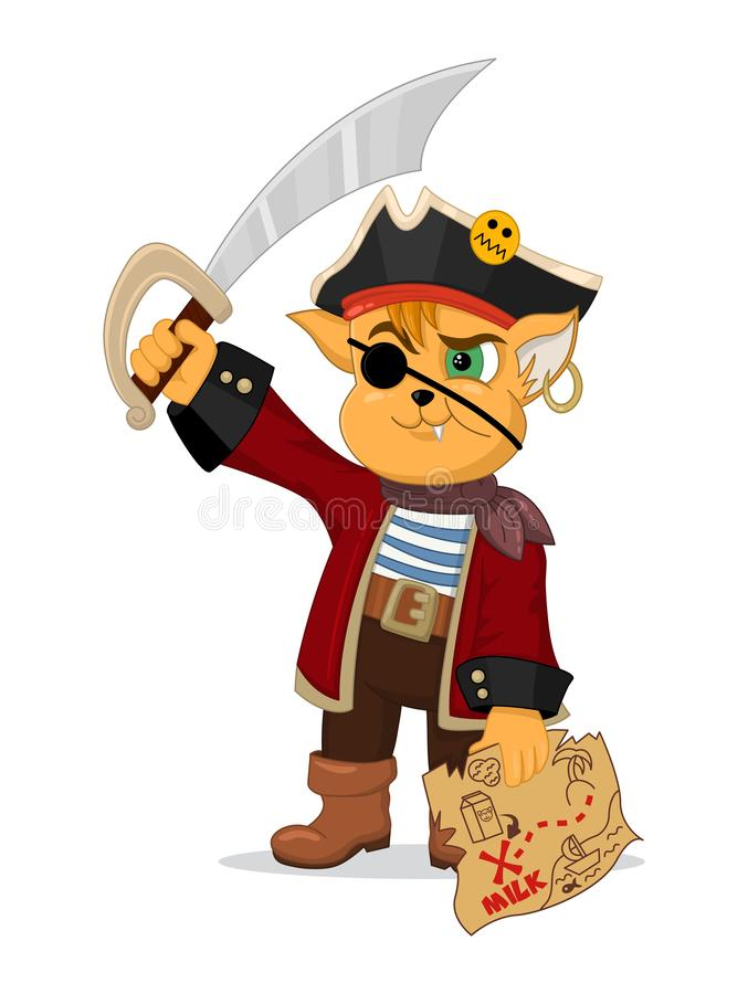 Illustration de vecteur de pirate drôle de chat de bande dessinée avec une carte de trésor et un sabre Conception pour la copie,  illustration stock