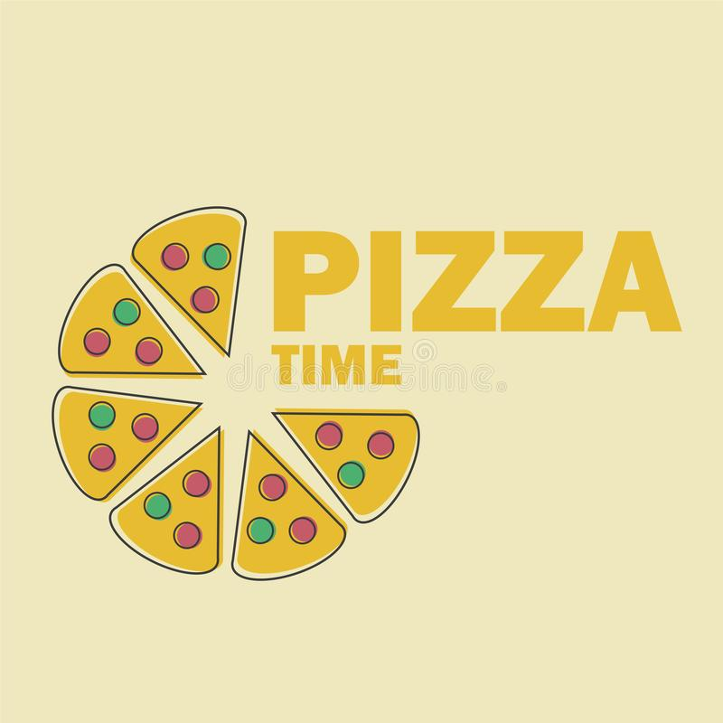 Illustration de vecteur de pizza dans la ligne image d'Art Flat Style Design Funny illustration libre de droits