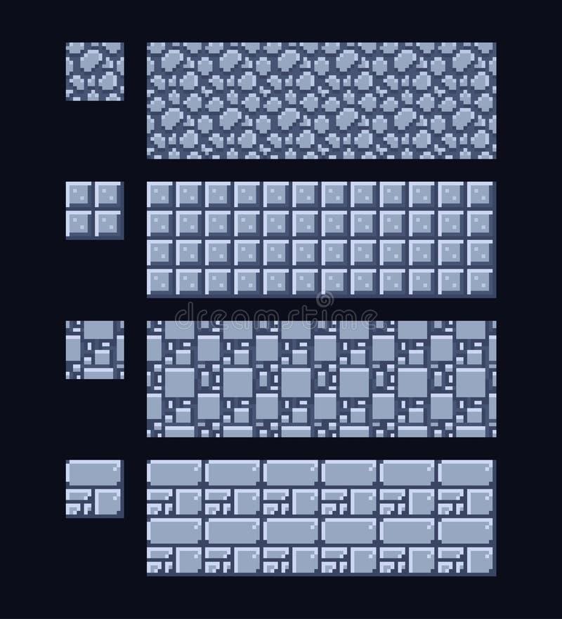 Illustration de vecteur - placez 8 de la texture de pierre et en métal du bit 16x16 Modèle sans couture de fond de jeu de style d illustration stock