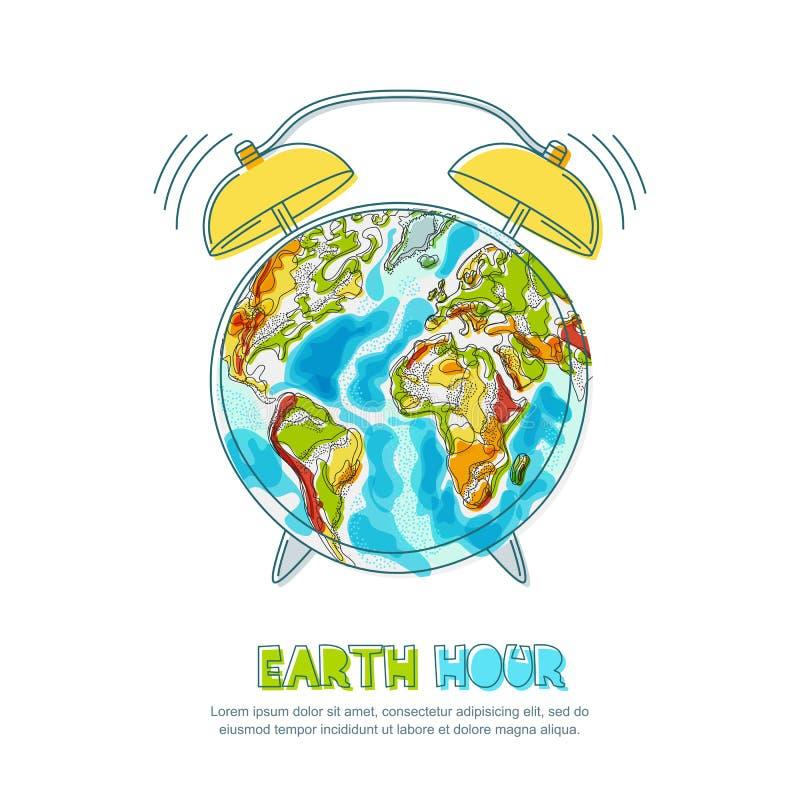 Illustration de vecteur de planète et d'horloge de la terre Affiche d'heure de la terre Ambiant, écologie, concept de protection  illustration de vecteur