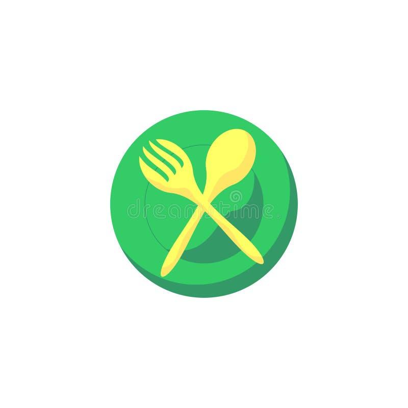 Illustration de vecteur de plat de fourchette de cuillère illustration libre de droits