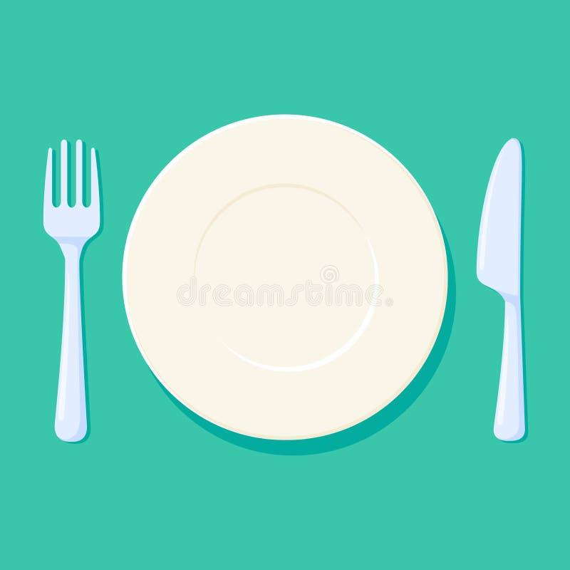 Illustration de vecteur de plat, de fourchette et de couteau Couvert avec des couverts Acessories vides et propres de cuisine illustration libre de droits