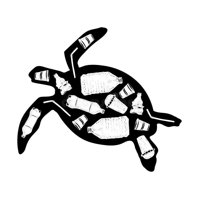 Illustration de vecteur de pollution d'océan Déchets dans une affiche écologique de tortue Déchets en plastique tirés par la main illustration de vecteur