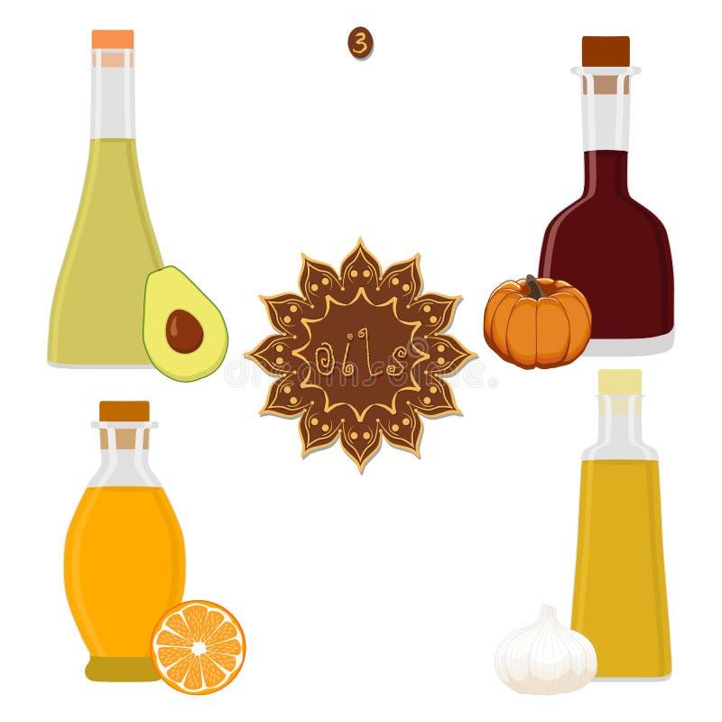 Illustration de vecteur pour la diverse huile réglée de bouteilles illustration de vecteur