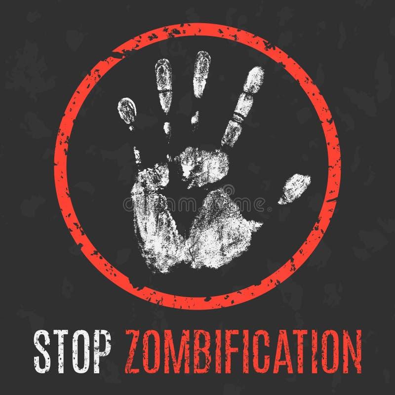 Illustration de vecteur Problèmes sociaux Arrêtez le zombification illustration stock