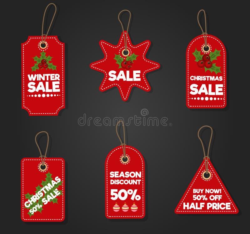 Illustration de vecteur de promotion d'achats de la publicité d'offre d'hiver de Noël de remise de vacances de bannière d'étiquet illustration de vecteur