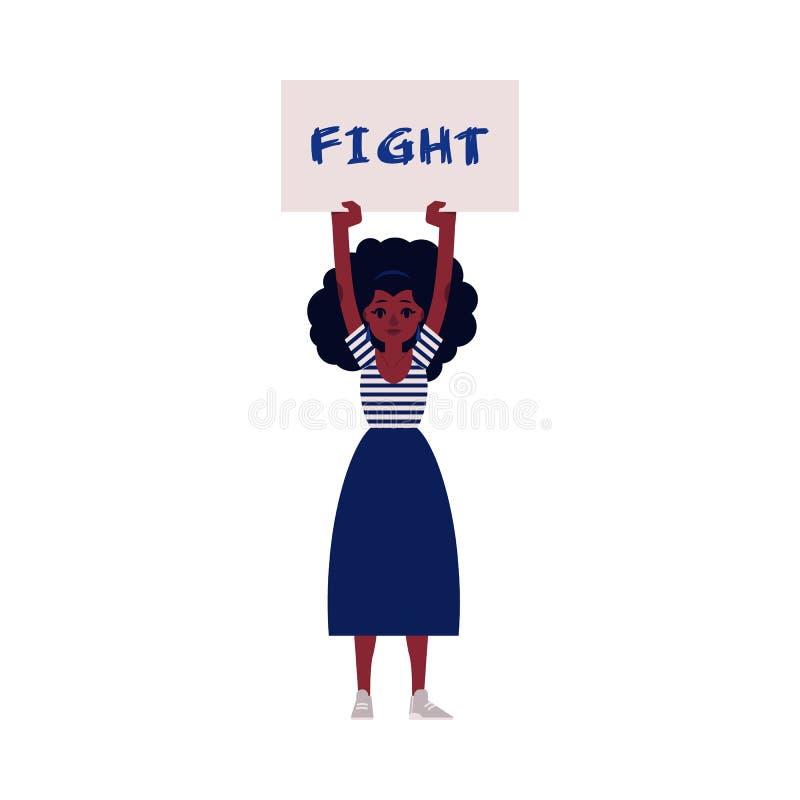 Illustration de vecteur de protestataire de femme - jeune fille africaine gardant la plaquette avec le combat pour s'inscrire illustration stock