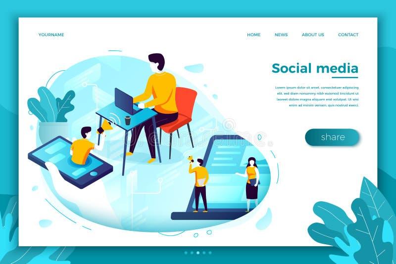 Illustration de vecteur, publicité sociale de réseau illustration libre de droits