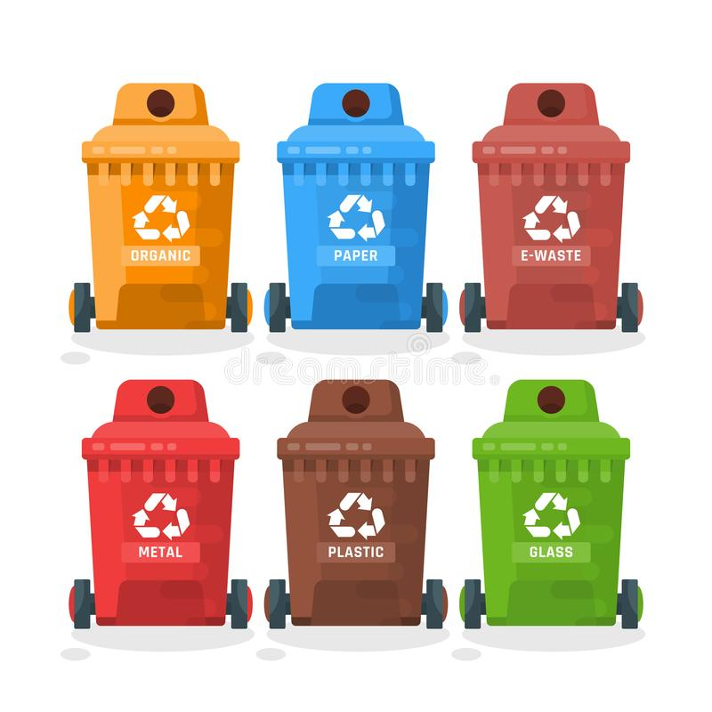 Illustration de vecteur de récipient de déchets dans le style moderne Poubelle réglée avec des déchets illustration de vecteur
