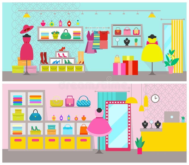 Illustration de vecteur réglée par affiches de magasin d'habillement illustration stock