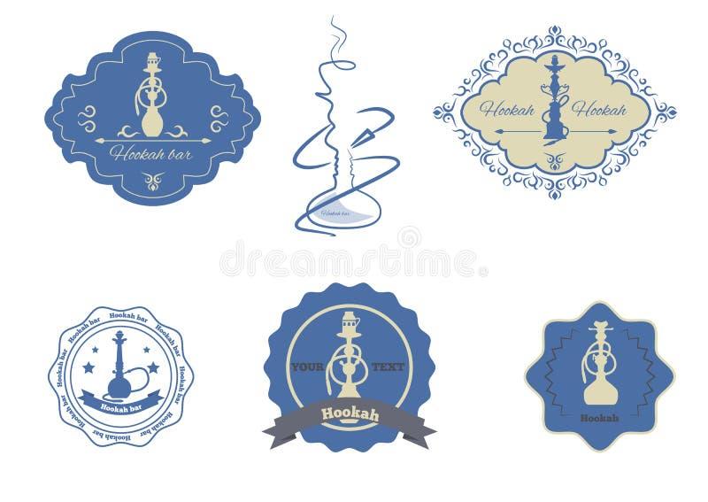 Illustration de vecteur réglée par emblèmes de narguilé photographie stock