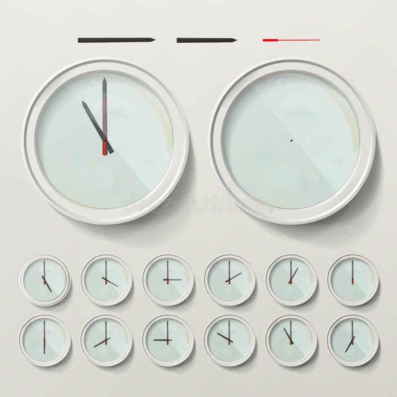 Illustration de vecteur réglée par horloges murales réalistes Horloge d'analogue de mur Deuxième heure minutieuse réaliste illustration de vecteur