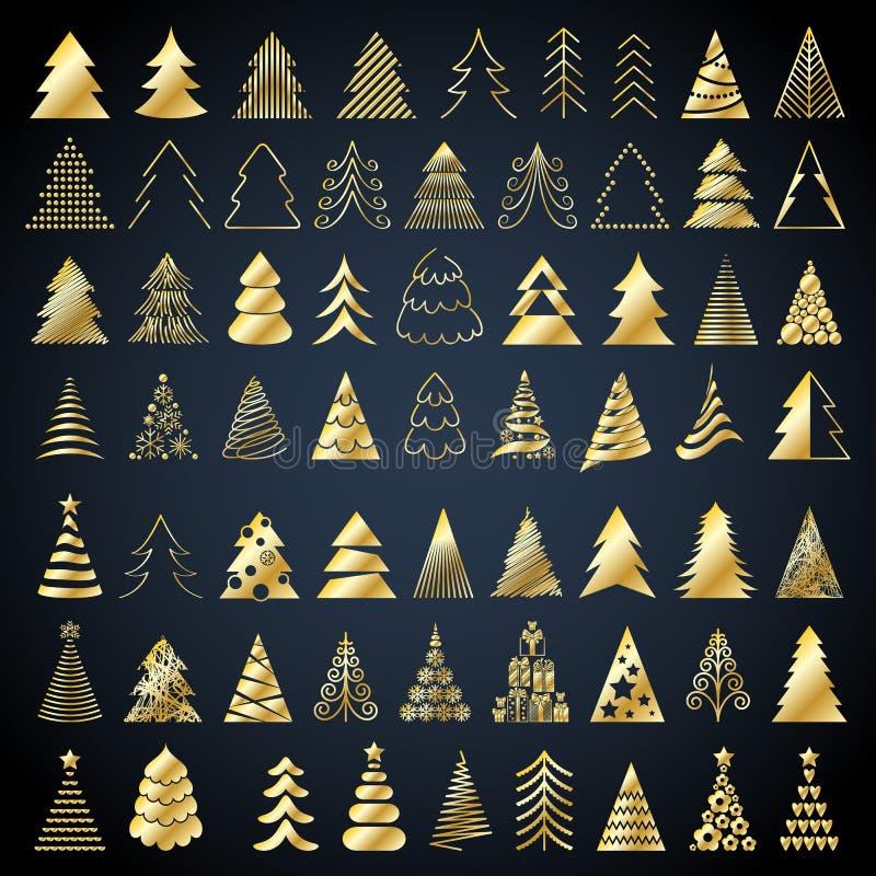 Illustration de vecteur réglée par icônes d'arbres de Noël illustration libre de droits