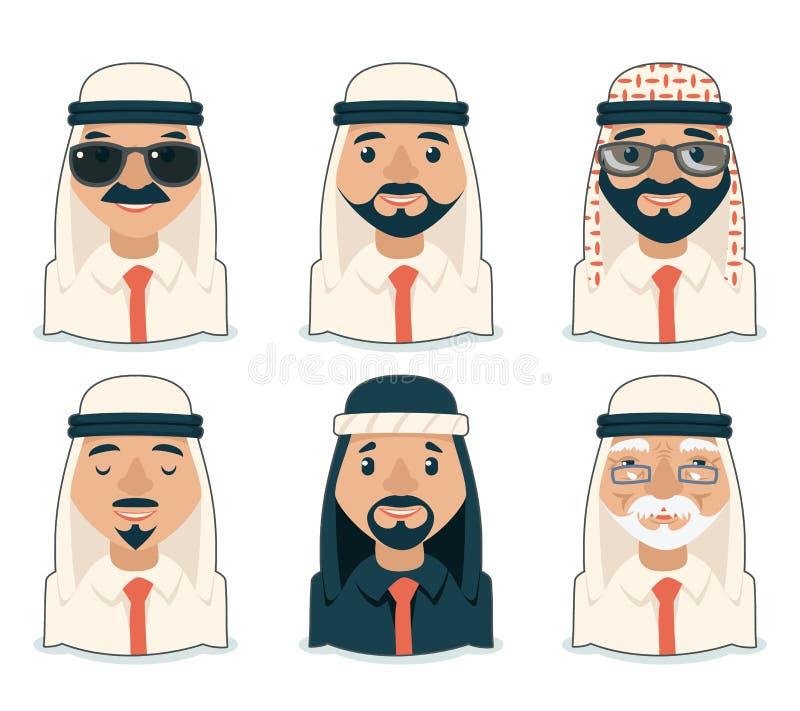 Illustration de vecteur réglée par icônes arabes de Cartoon Design Character d'homme d'affaires d'avatars illustration libre de droits