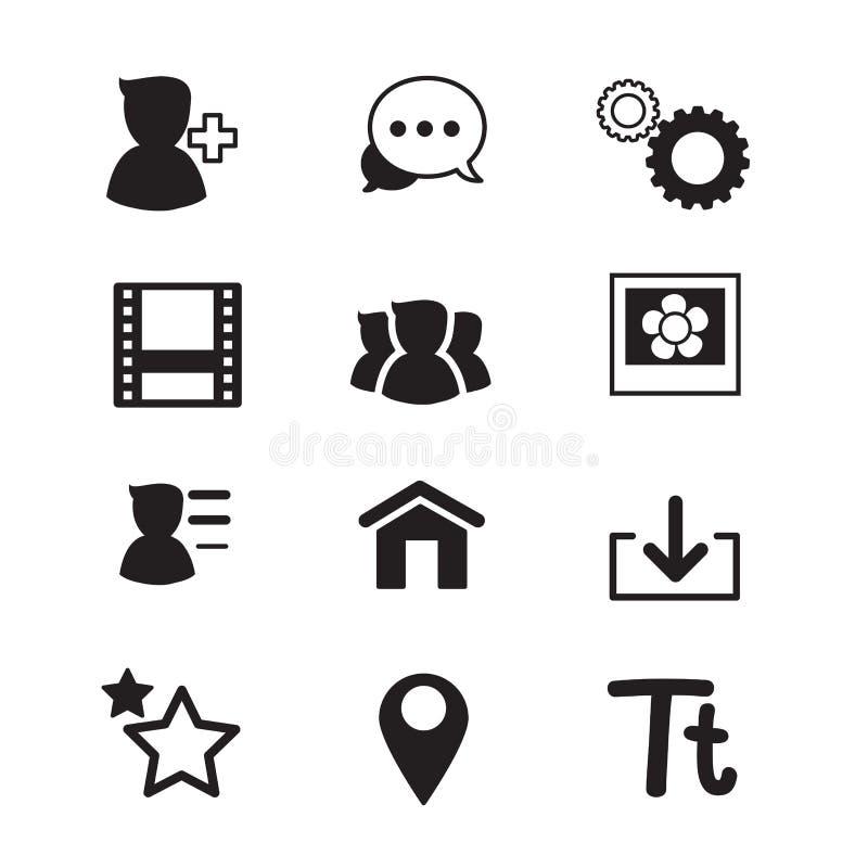 Illustration de vecteur réglée par icônes sociales de réseau illustration de vecteur