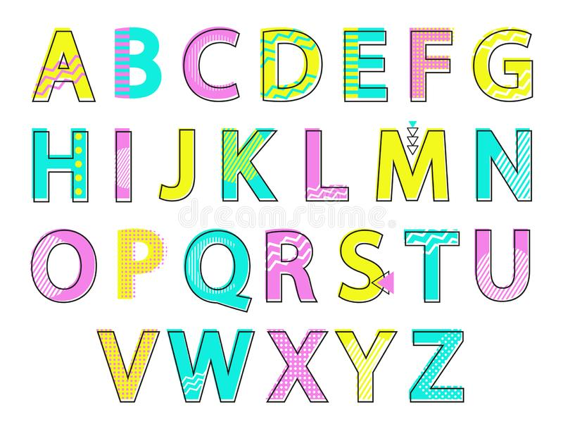Illustration de vecteur réglée par lettres colorées d'alphabet illustration stock