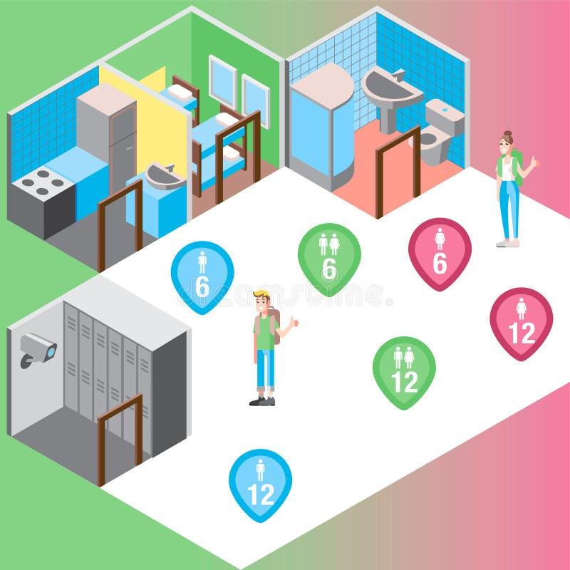 Illustration de vecteur réglée par salles isométriques de pension illustration de vecteur