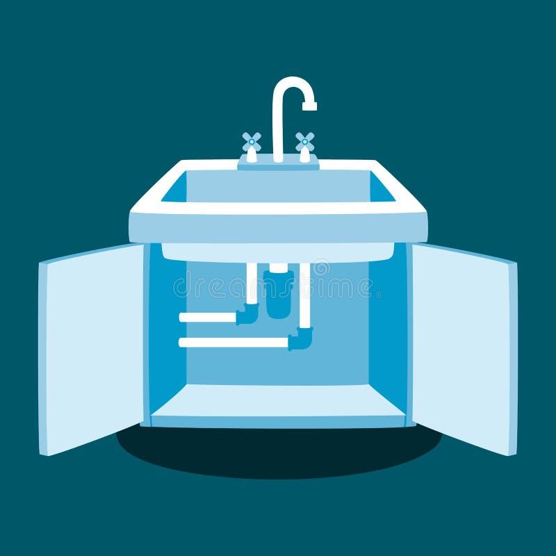 Illustration de vecteur de réparation de robinet de cuisine illustration stock