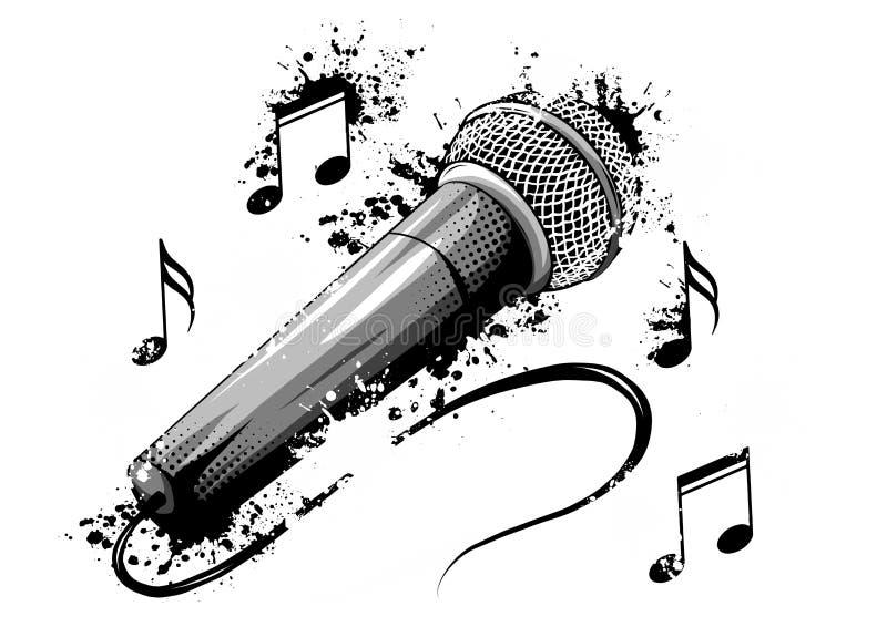 Illustration de vecteur de rétro d'isolement, microphone de cru Musique illustration libre de droits
