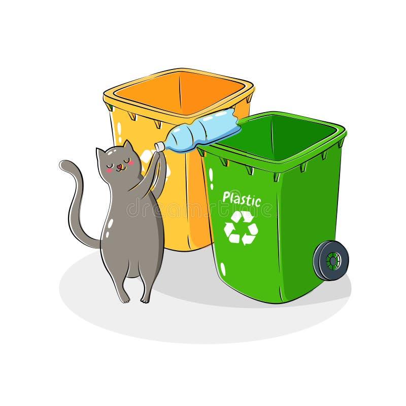 Illustration de vecteur Réutilisation des ordures Tri et traitement des déchets Utilisez les déchets Boîtes de poubelles de sacs  illustration stock