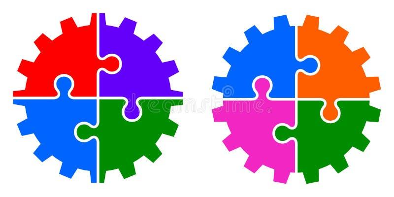 Illustration de vecteur de roue de vitesse colorée de puzzle illustration libre de droits